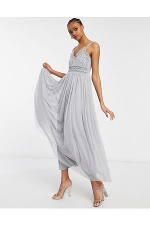 Little Mistress Prom maxi dress with embellishment in grey