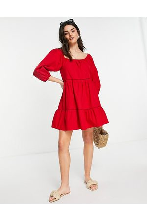 Accessorize Puff sleeve dress in red