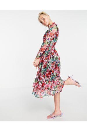 Little Mistress Long sleeve frill detail skater midi dress in rose floral-Multi