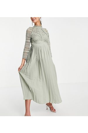 Little Mistress Lace detail midaxi dress in sage green