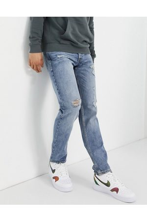 JACK & JONES Intelligence Mike straight jeans with rips in light blue