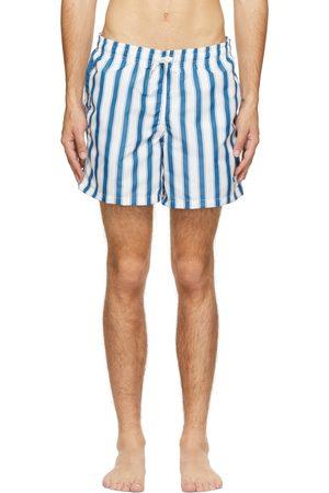 Bather Heren Shorts - Blue & White Stripe Swim Shorts