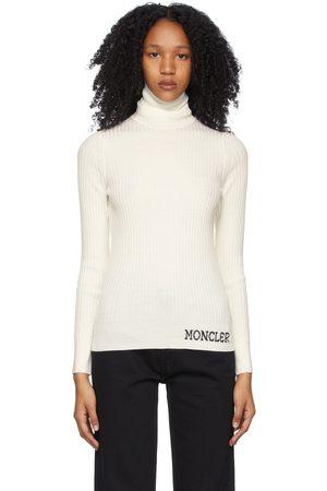 Moncler White Wool Ribbed Turtleneck