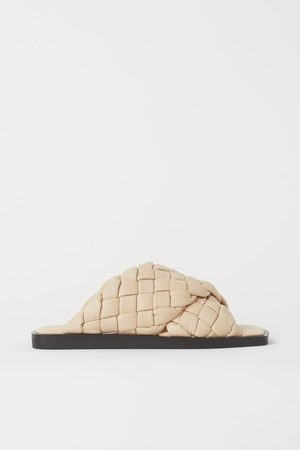 H&M Dames Slippers - Gevlochten leren slippers