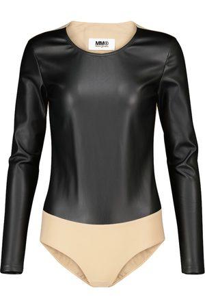 MM6 Maison Margiela Paneled faux leather bodysuit