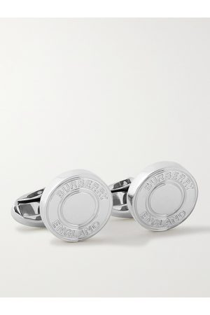 Burberry Heren Manchetknopen - Logo-Engraved Palladium-Plated Cufflinks