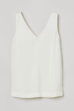 H&M Dames T-shirts - Satijnen top met V-hals