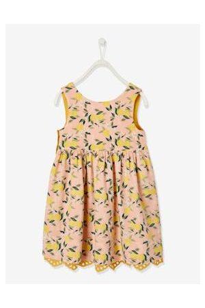 Vertbaudet Meisjes Geprinte jurken - Omkeerbare mouwloze meisjesjurk bedrukt of met Engels borduurwerk currygeel met print