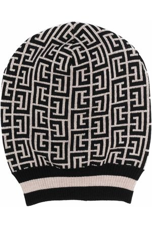Balmain Two-tone monogram intarsia-knit hat