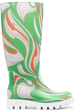 Emilio Pucci Vortici-print rain boots