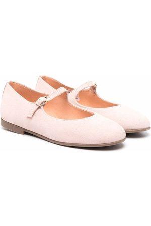 CLARYS TEEN glittered suede ballerina shoes