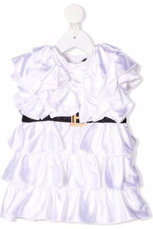Balmain Meisjes Feestjurken - Belted ruffled dress