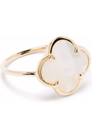 MORGANNE BELLO 18kt yellow Victoria clover stone mother-of-pearl corset ring