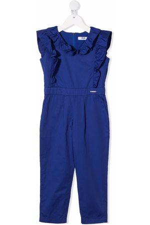 Msgm Ruffled-trim cotton jumpsuit