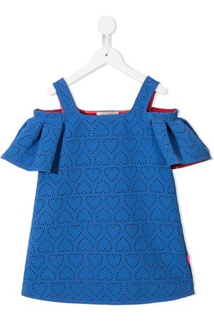 Simonetta Perforated heart cold-shoulder dress