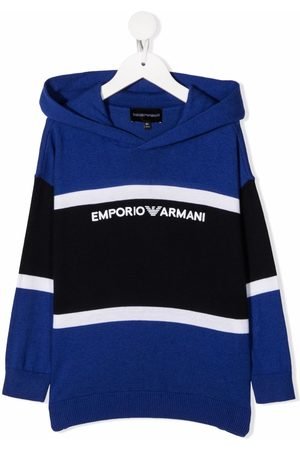 Emporio Armani Colour-block knitted hoodie