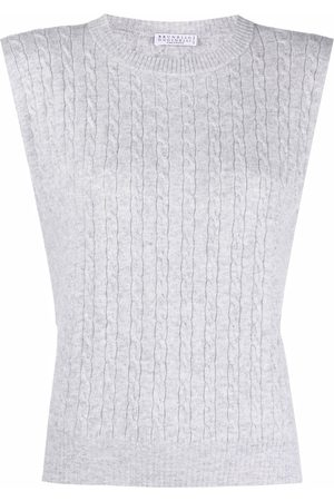 Brunello Cucinelli Sleeveless cable-knit top