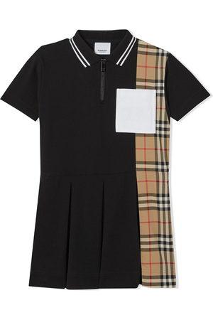 Burberry Check-print panel polo-shirt dress