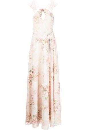 Marchesa Notte Floral ruffle halter-neck gown
