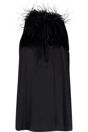 Styland Feather-collar sleeveless blouse