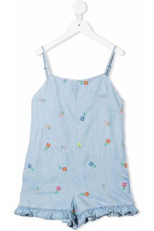 Stella McCartney Kids Floral-embroidered playsuit