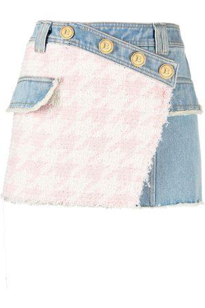Balmain Tweed panel denim skirt