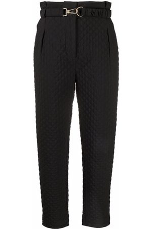 Patrizia Pepe Quilted tapered-leg cropped trousers