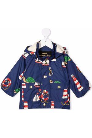 Mini Rodini Turtle hooded rain jacket