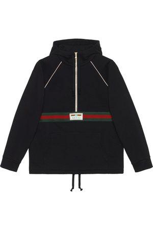 Gucci Web-stripe cotton hoodie