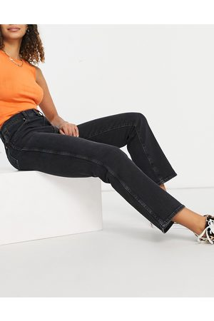Wrangler Wild west high rise straight leg jeans in washed black