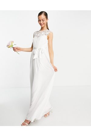 Little Mistress Bridal lace detail maxi dress in Ivory-White