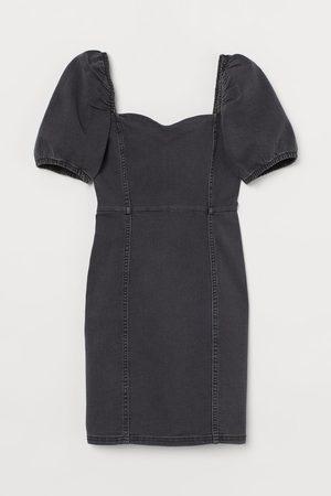 H & M Jeansjurk met pofmouwen