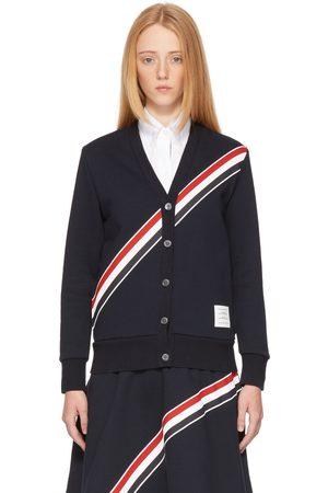 Thom Browne Navy Diagonal Stripe Cardigan
