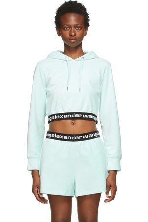 alexanderwang.t Dames Hoodies - Blue Corduroy Logo Elastic Hoodie