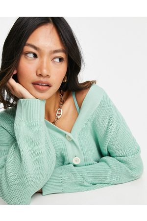 People Tree Dames Cardigans - Relaxed cardigan in pastel organic cotton-Green
