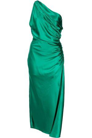 Michelle Mason Asymmetric gathered-side silk dress
