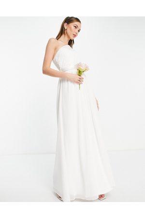 Little Mistress Bridal one shoulder maxi dress in white