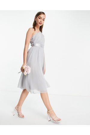 Little Mistress Dames Asymmetrische jurken - Little Misstress Bridesmiads one shoulder midi dress in grey
