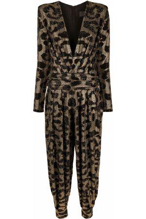 Philipp Plein Gem-embellished leopard-print jumpsuit