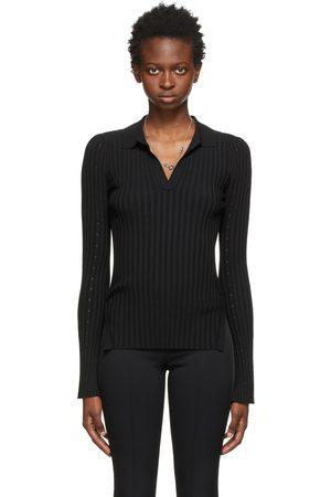 Helmut Lang Black Knit Slash Long Sleeve Polo