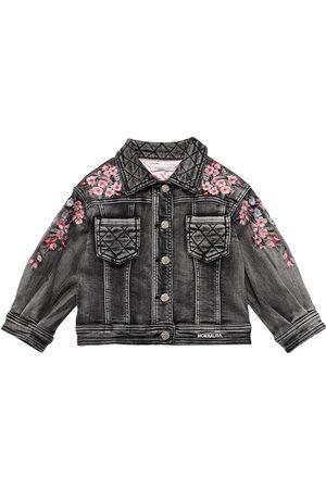MONNALISA Embroidered Stretch Cotton Denim Jacket