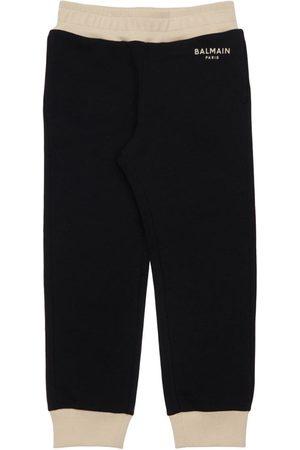 Balmain Logo Print Cotton Sweatpants