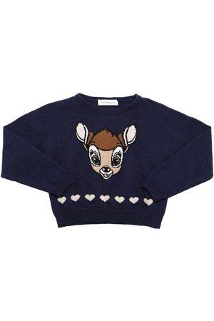 MONNALISA Intarsia Wool Knit Sweater