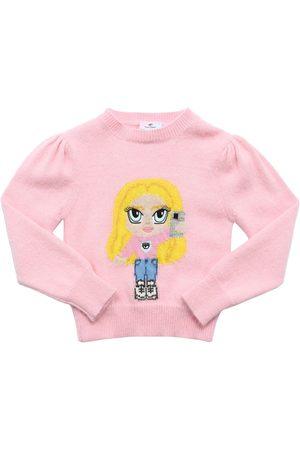 Chiara Ferragni Angora Blend Intarsia Knit Sweater