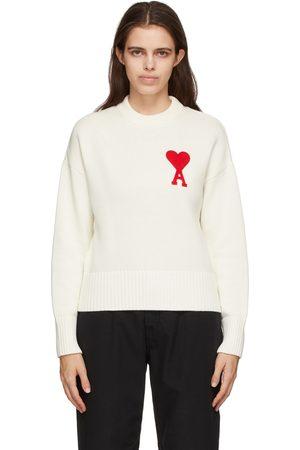 AMI Alexandre Mattiussi Dames Sweaters - Off-White Oversize Ami De Coeur Sweater