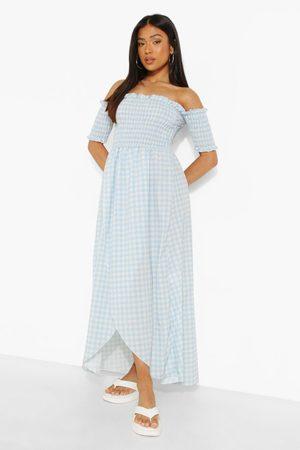 Boohoo Dames Lange jurken - Petite Geplooide Ginghaml Maxi Wikkel Jurk