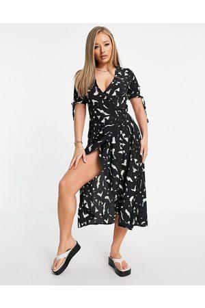 Ax Paris Dames Casual jurken - Plunge wrap dress in brushstroke-Multi