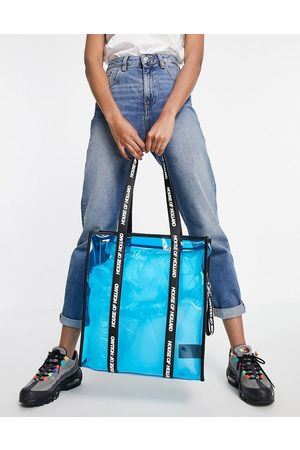 House of Holland Dames Shoppers - Blue transparent tote bag with logo straps in black