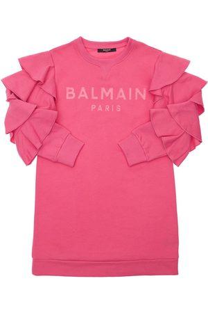 Balmain Organic Cotton Sweat Dress W/ Ruffles