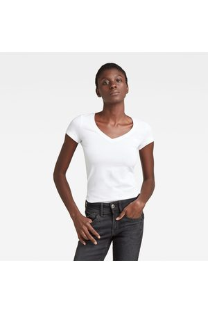 G-Star RAW Dames Petten - Dames Basic V-Neck Cap Sleeve T-Shirt Wit